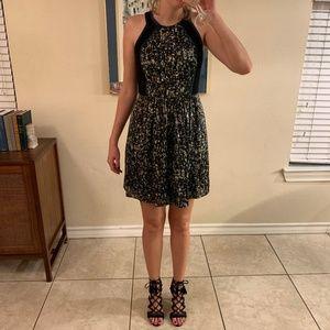 Abstract pattern silk dress